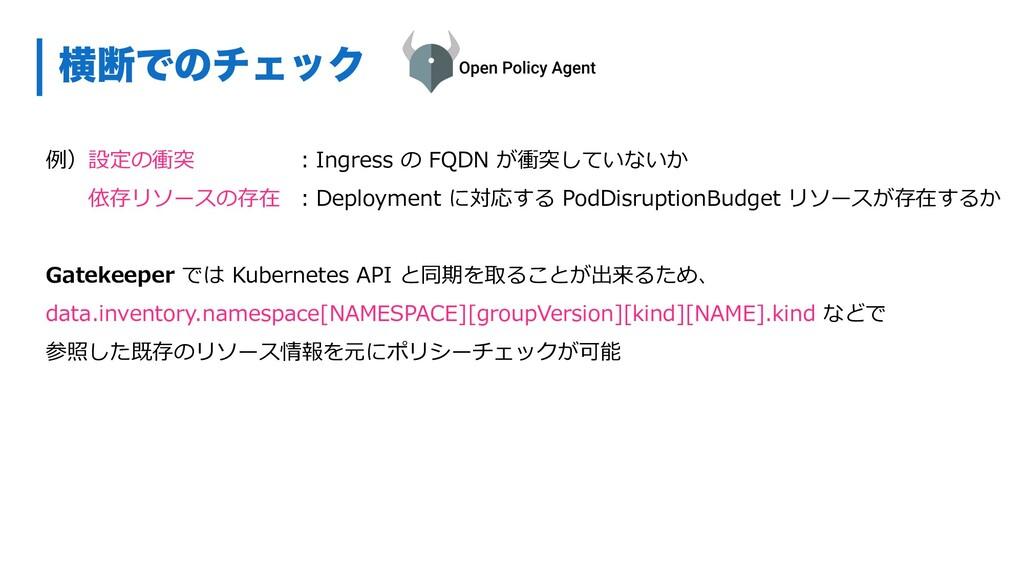 ԣஅͰͷνΣοΫ 例)設定の衝突 依存リソースの存在 Gatekeeper では Kubern...
