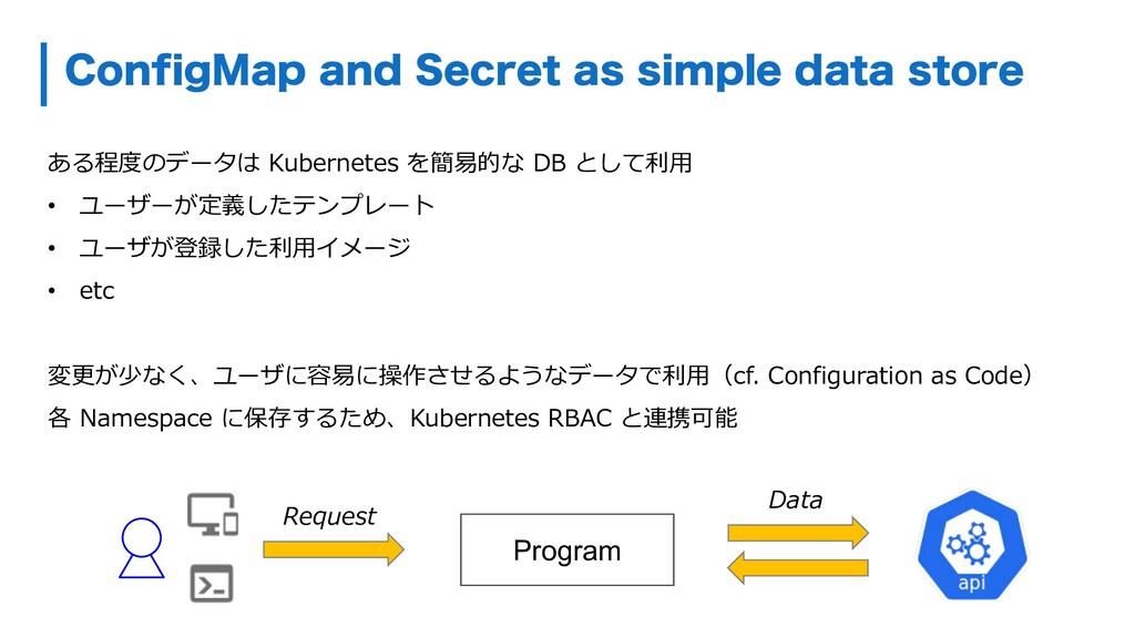 ある程度のデータは Kubernetes を簡易的な DB として利⽤ • ユーザーが定義した...