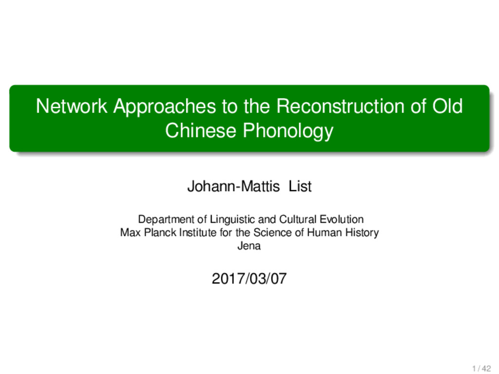 Network Approaches to the Reconstruction of Old...