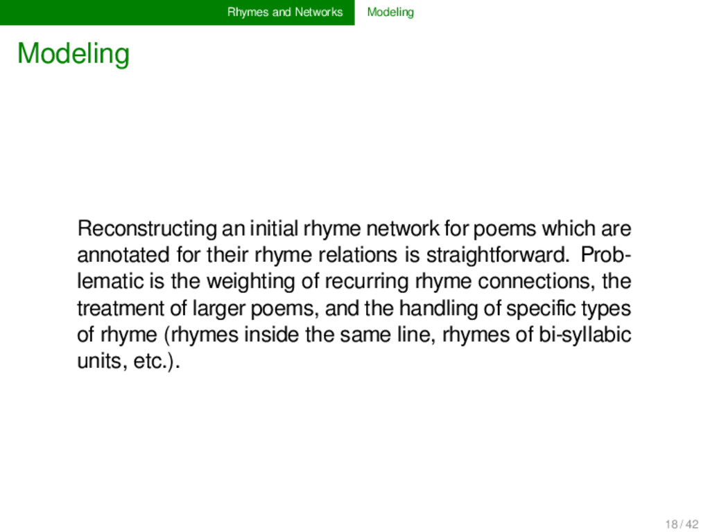 Rhymes and Networks Modeling Modeling Reconstru...