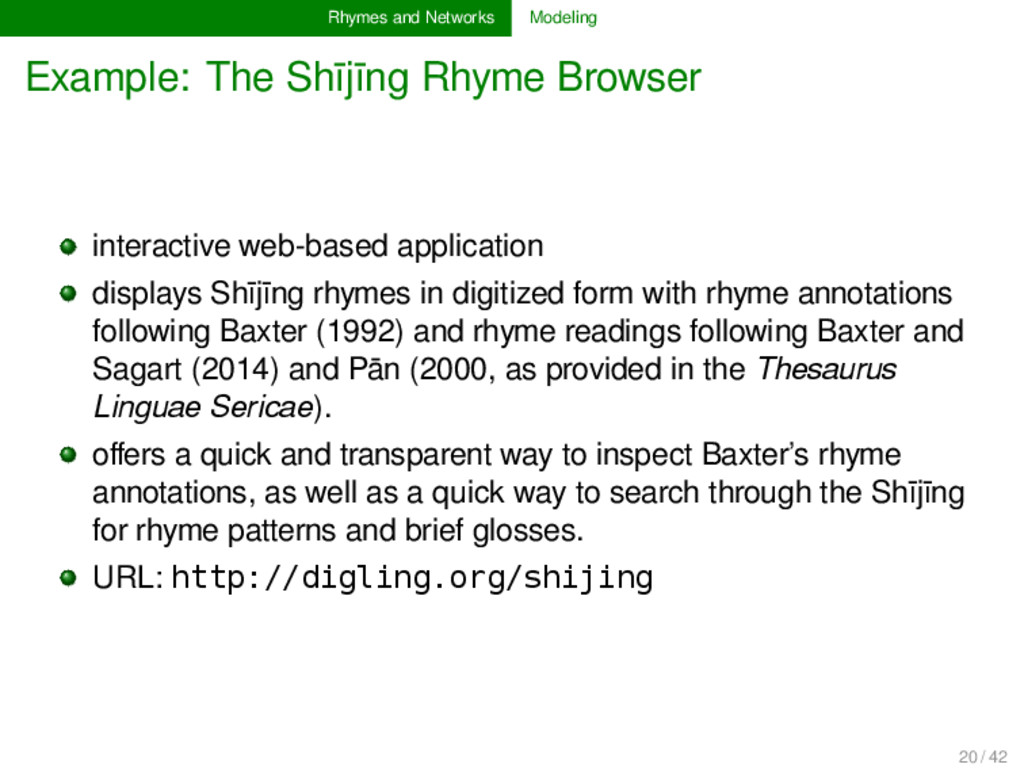 Rhymes and Networks Modeling Example: The Shījī...