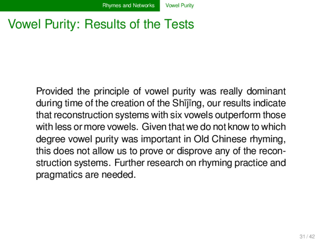 Rhymes and Networks Vowel Purity Vowel Purity: ...