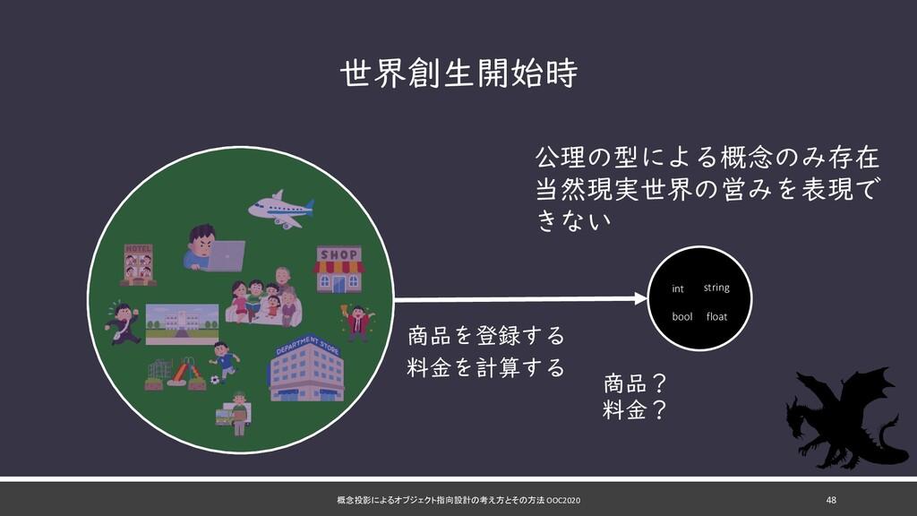 概念投影によるオブジェクト指向設計の考え方とその方法 OOC2020 48 世界創生開始時 公...