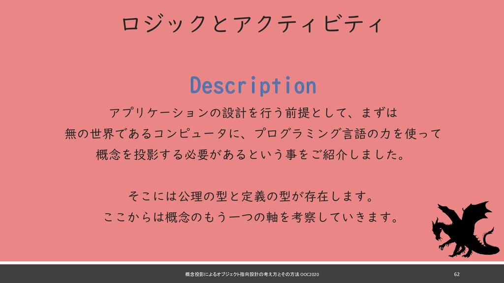 ロジックとアクティビティ Description アプリケーションの設計を行う前提として、まず...