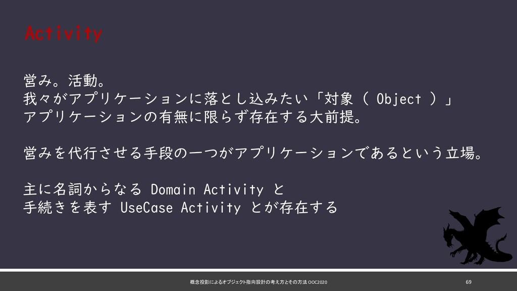 概念投影によるオブジェクト指向設計の考え方とその方法 OOC2020 69 Activity ...