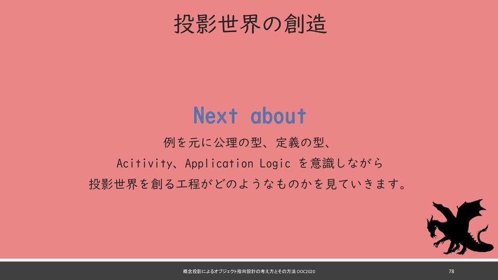 投影世界の創造 Next about 例を元に公理の型、定義の型、 Acitivity、App...