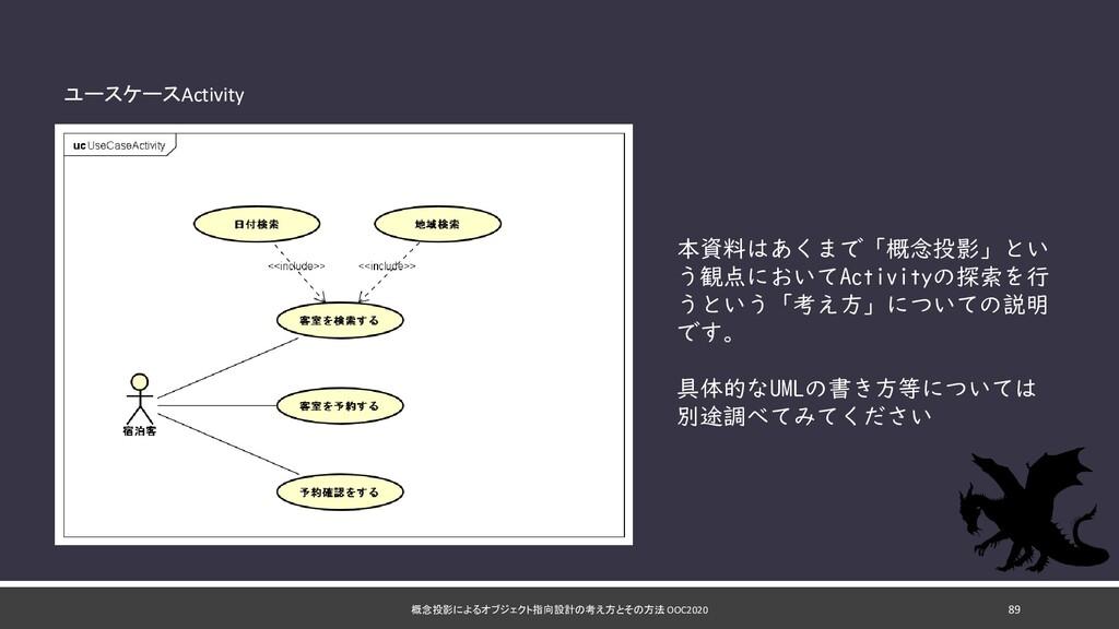 概念投影によるオブジェクト指向設計の考え方とその方法 OOC2020 89 ユースケースAct...