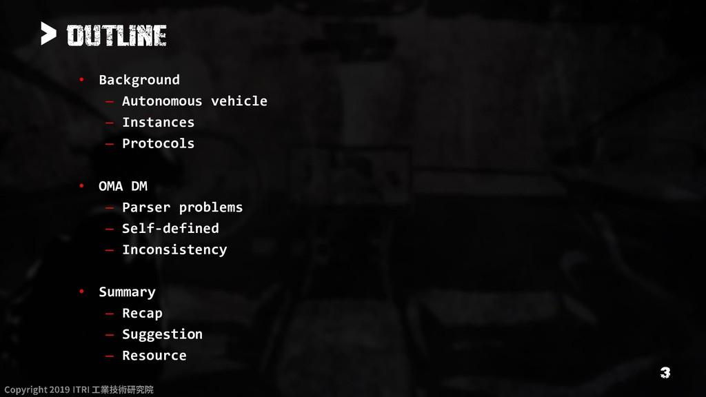 > • Background – Autonomous vehicle – Instances...