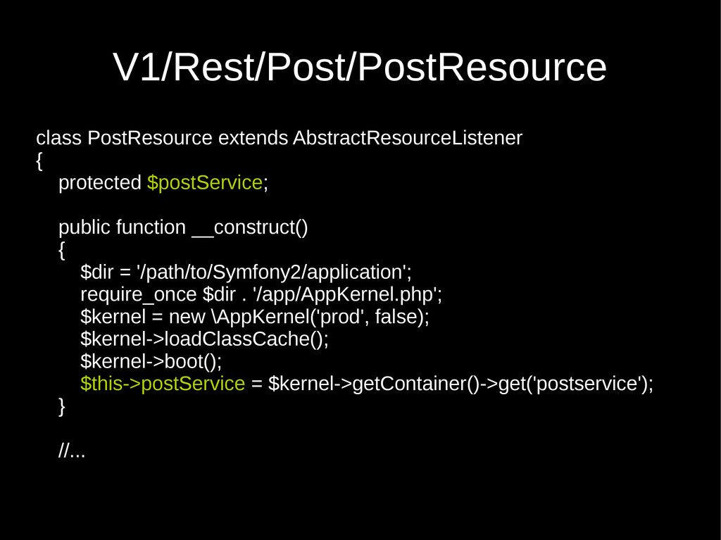 V1/Rest/Post/PostResource class PostResource ex...