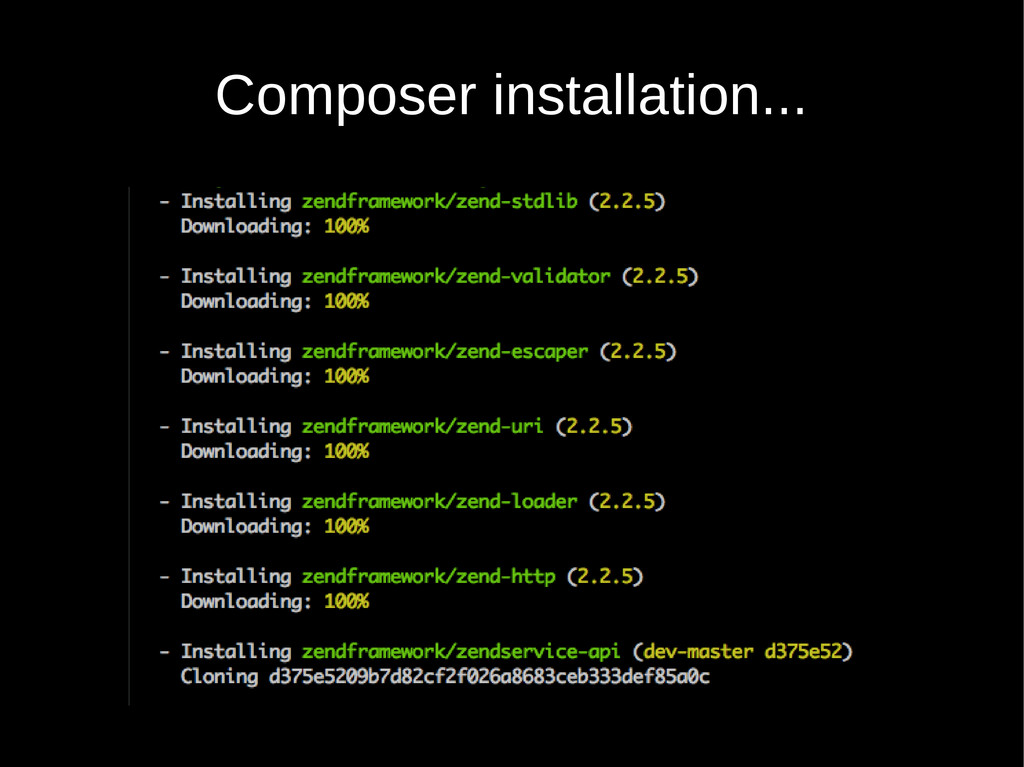Composer installation...