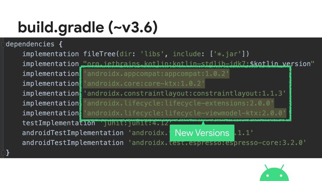 build.gradle (~v3.6) New Versions
