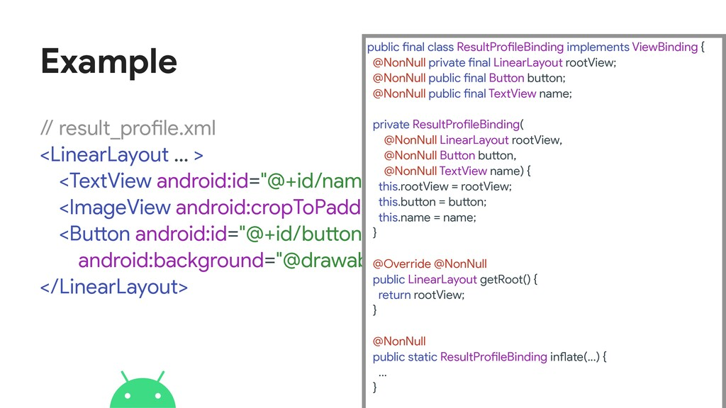Example // result_profile.xml  <LinearLayout .....