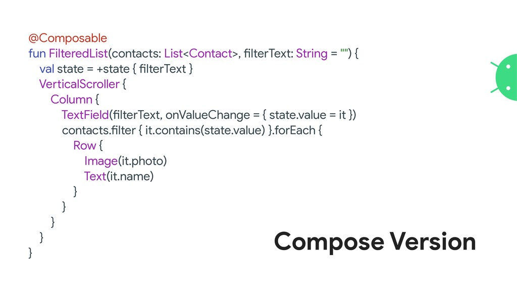 @Composable  fun FilteredList(contacts: List<Co...