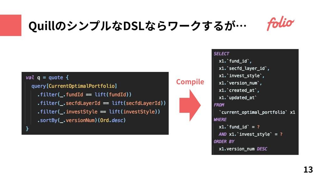 QuillのシンプルなDSLならワークするが… 13 Compile