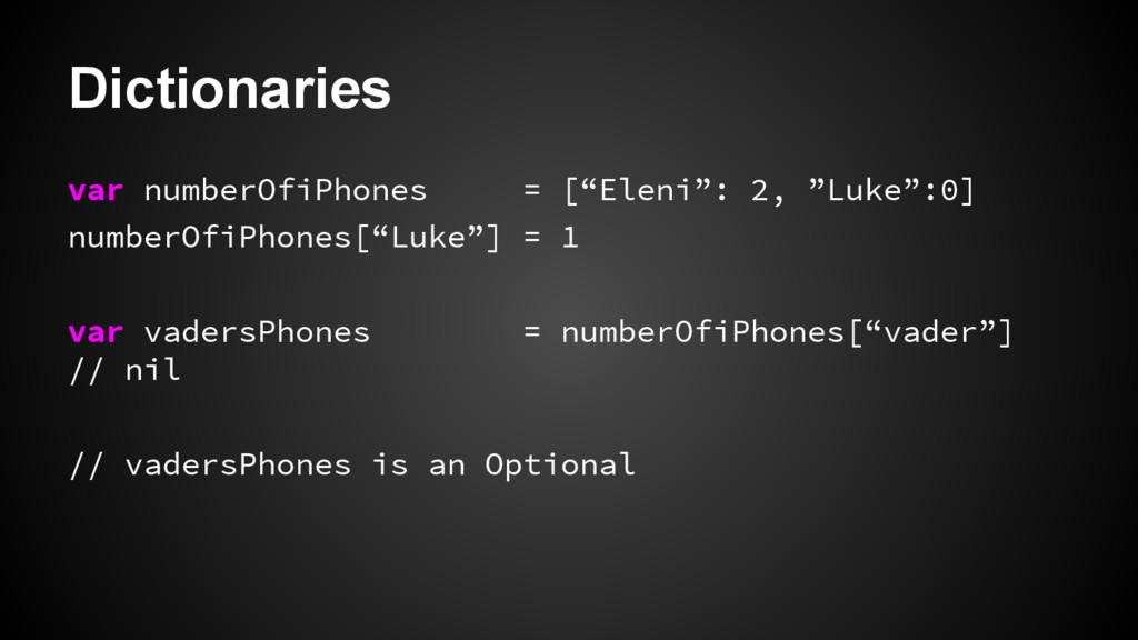 "Dictionaries var numberOfiPhones = [""Eleni"": 2,..."