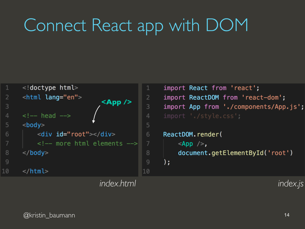 @kristin_baumann Connect React app with DOM 14 ...
