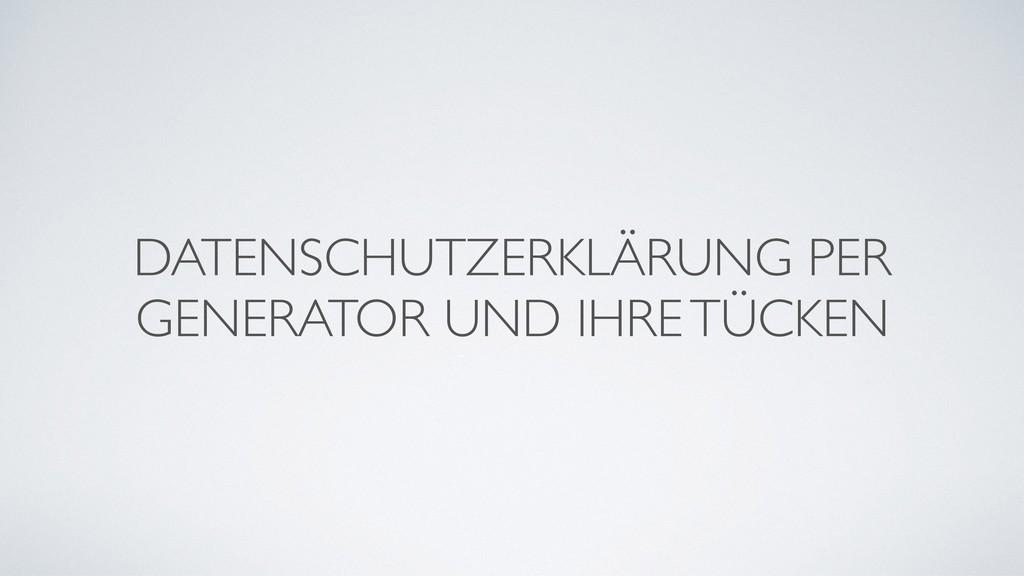 DATENSCHUTZERKLÄRUNG PER GENERATOR UND IHRE TÜC...