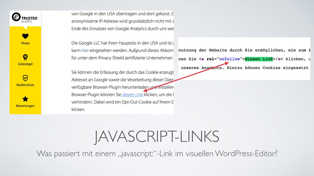 "JAVASCRIPT-LINKS Was passiert mit einem ""javasc..."