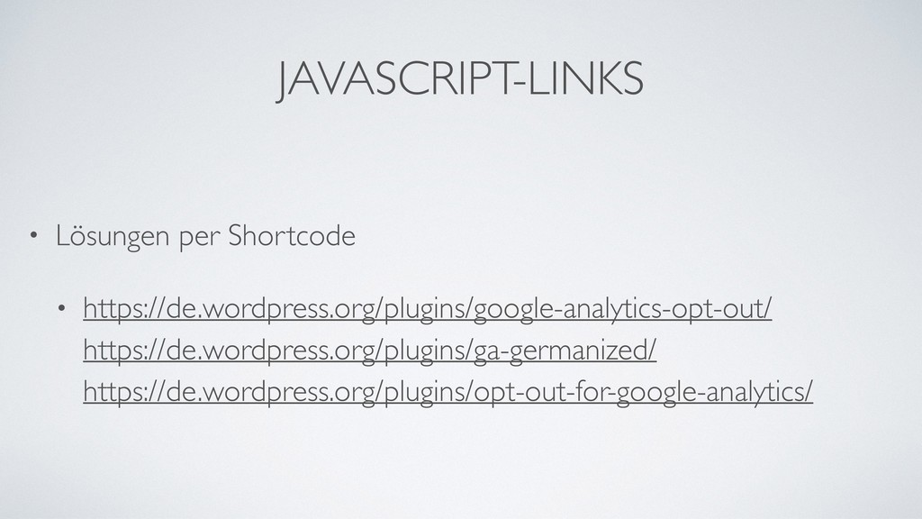 JAVASCRIPT-LINKS • Lösungen per Shortcode • htt...