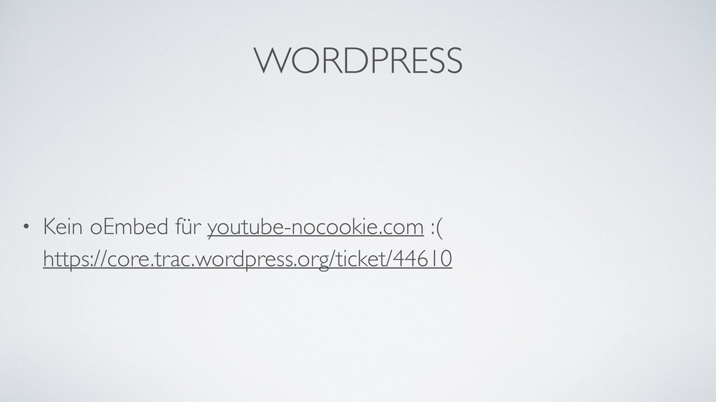 WORDPRESS • Kein oEmbed für youtube-nocookie.co...