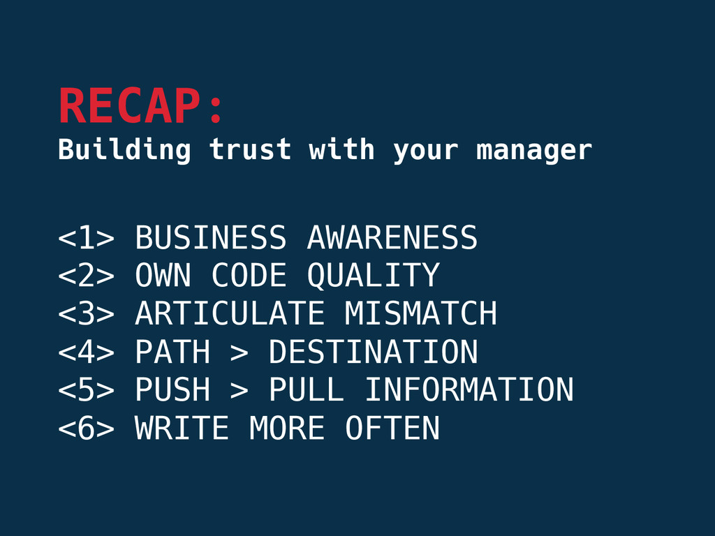 <1> BUSINESS AWARENESS <2> OWN CODE QUALITY <...