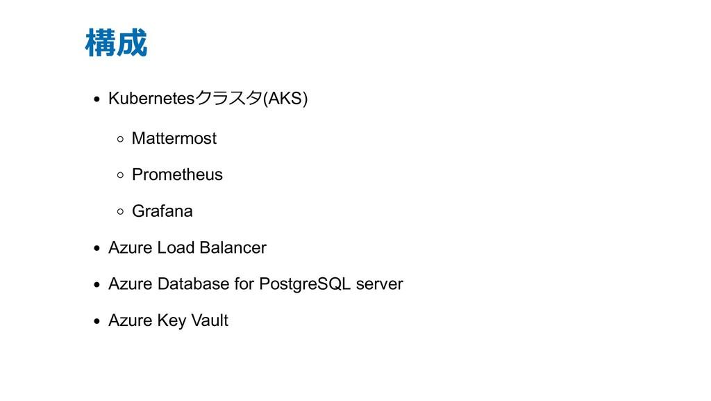 構成 Kubernetesクラスタ(AKS) Mattermost Prometheus Gr...