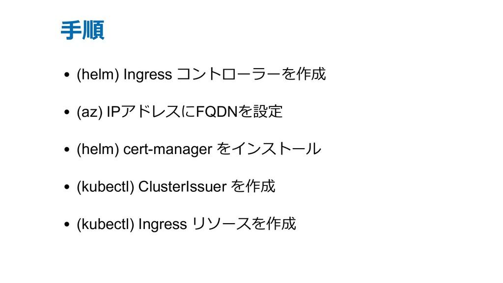 ⼿順 (helm) Ingress コントローラーを作成 (az) IPアドレスにFQDNを設...