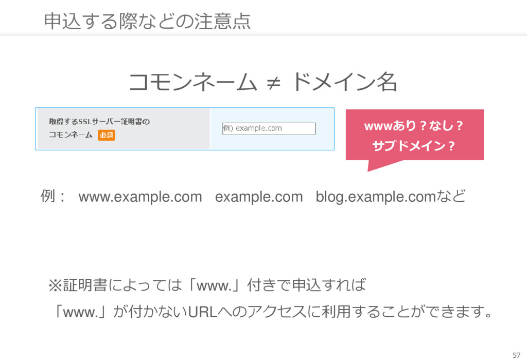 申込する際などの注意点 コモンネーム ≠ ドメイン名 57 例: www.example.co...