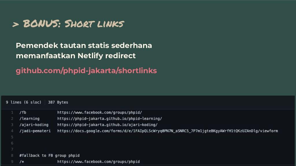 > BONUS: Short links Pemendek tautan statis sed...
