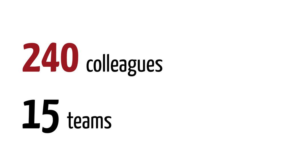 240 colleagues 15 teams