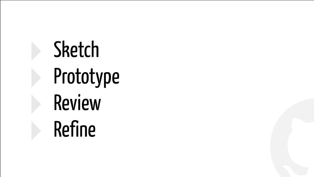 ! ! ‣ Sketch ‣ Prototype ‣ Review ‣ Refine