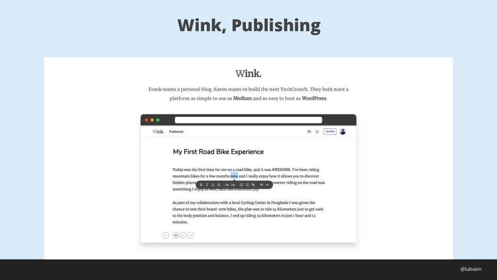 Wink, Publishing @lubusin
