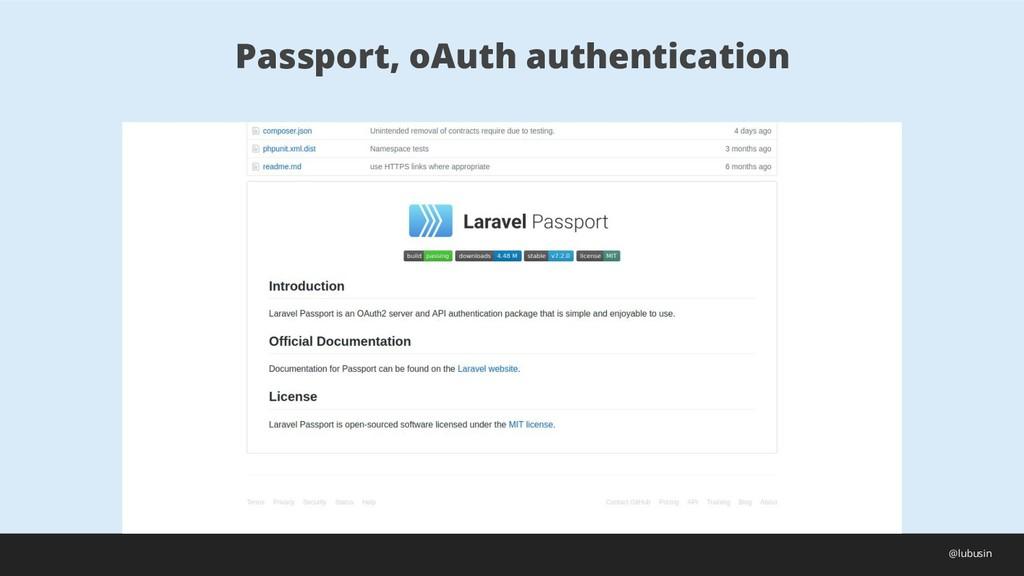 Passport, oAuth authentication @lubusin