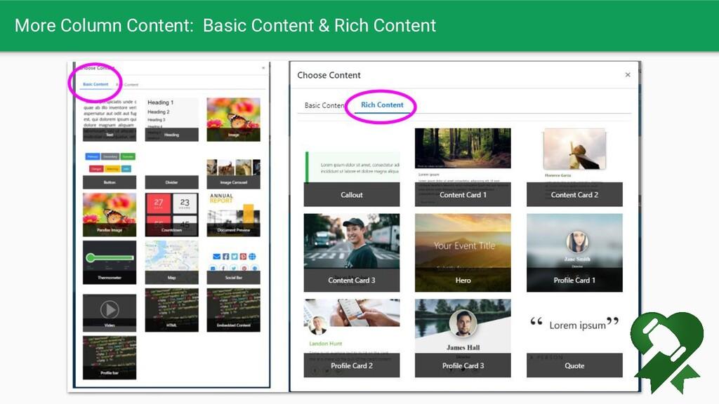 More Column Content: Basic Content & Rich Conte...