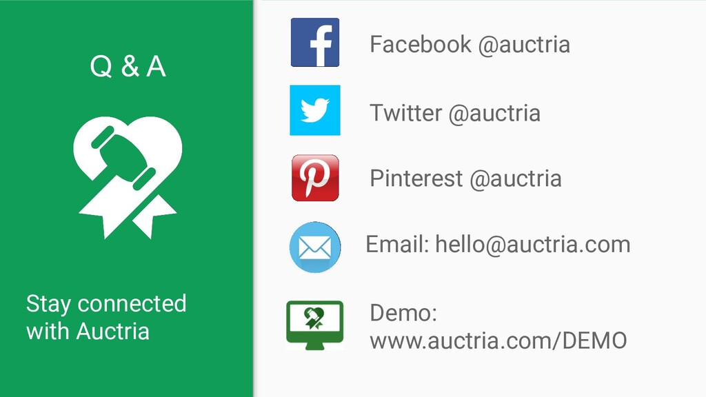 Stay connected with Auctria Facebook @auctria E...