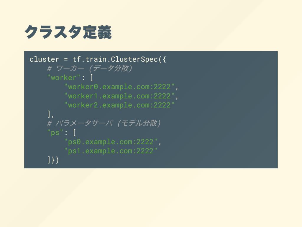 クラスタ定義 cluster = tf.train.ClusterSpec({ # ワー カー...