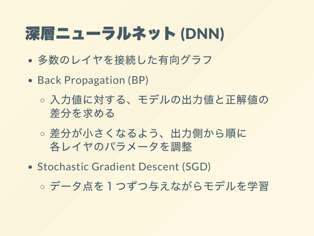 深層ニュー ラルネット (DNN) 多数のレイヤを接続した有向グラフ Back Propaga...