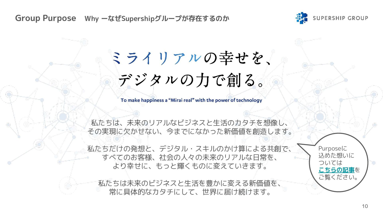 Group Purpose Why ーなぜSupershipグループが存在するのか 10 私た...