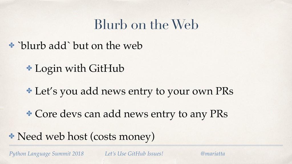 Blurb on the Web ✤ `blurb add` but on the web ✤...