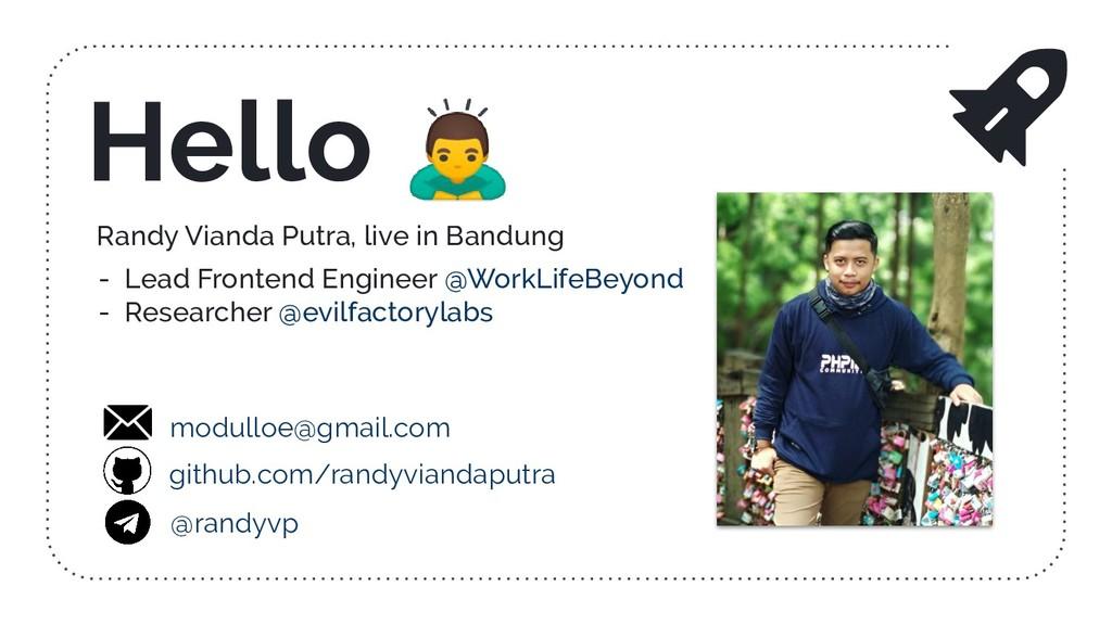Randy Vianda Putra, live in Bandung - Lead Fron...