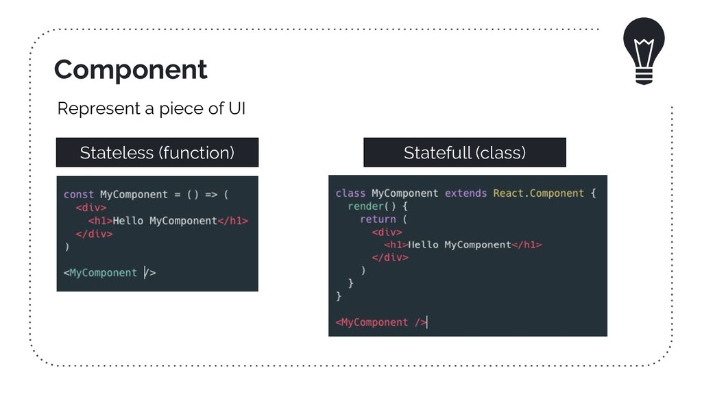 Component Stateless (function) Statefull (class...