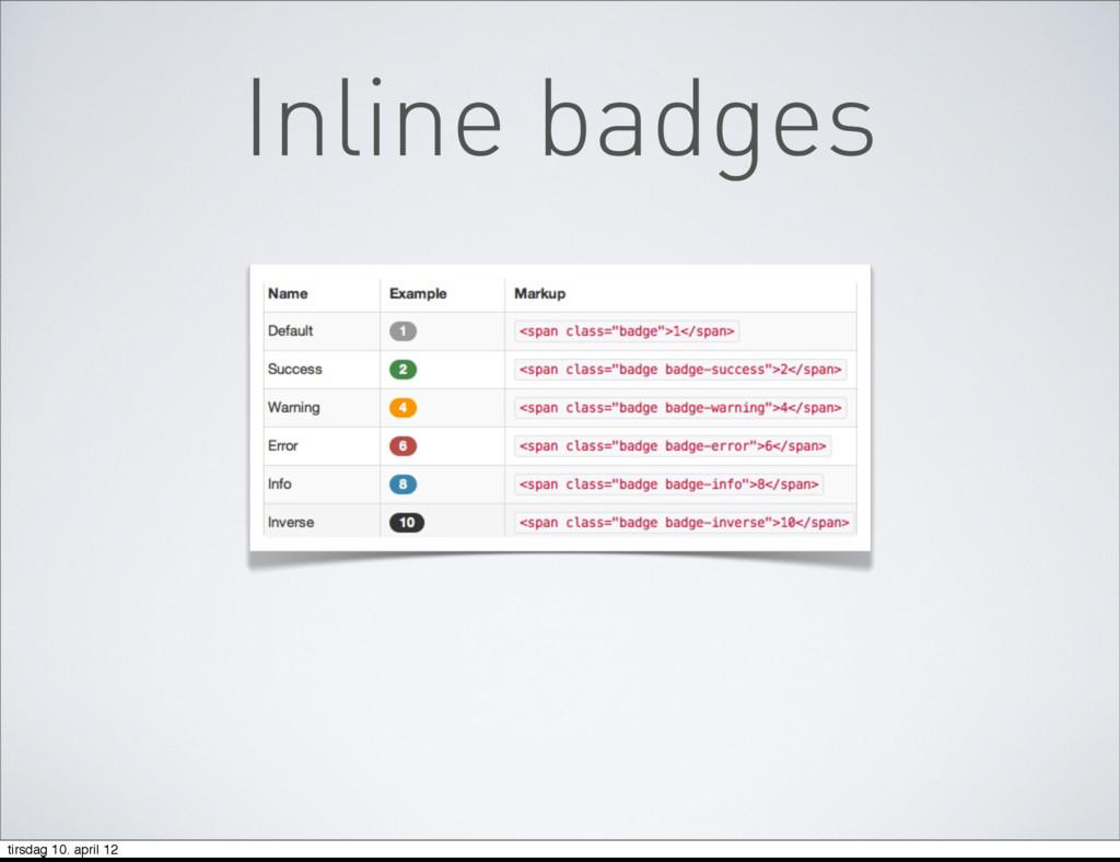 Inline badges tirsdag 10. april 12