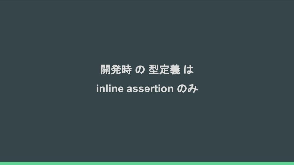 開発時 の 型定義 は inline assertion のみ