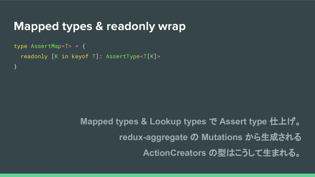 Mapped types & readonly wrap type AssertMap<T> ...