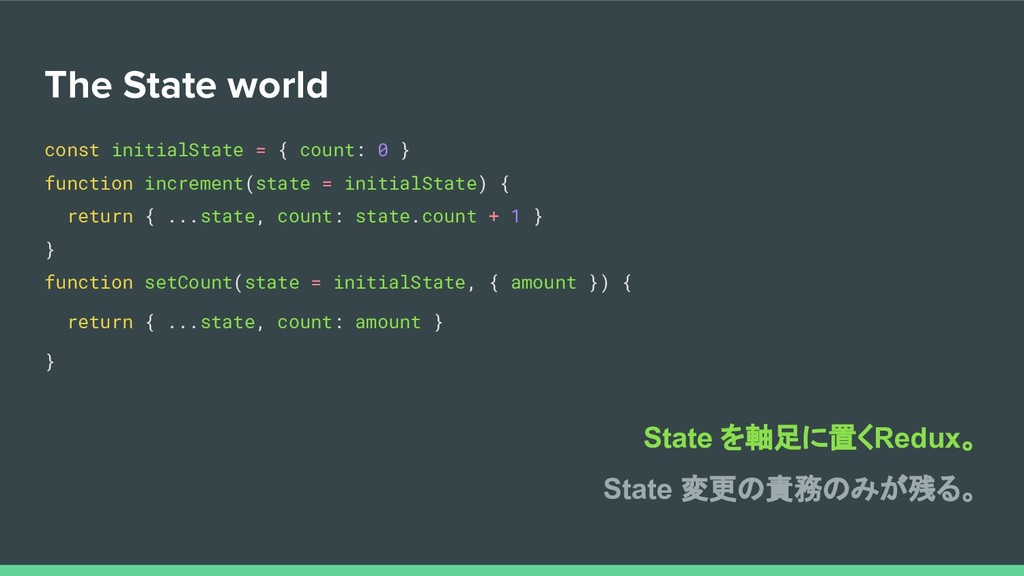 The State world const initialState = { count: 0...