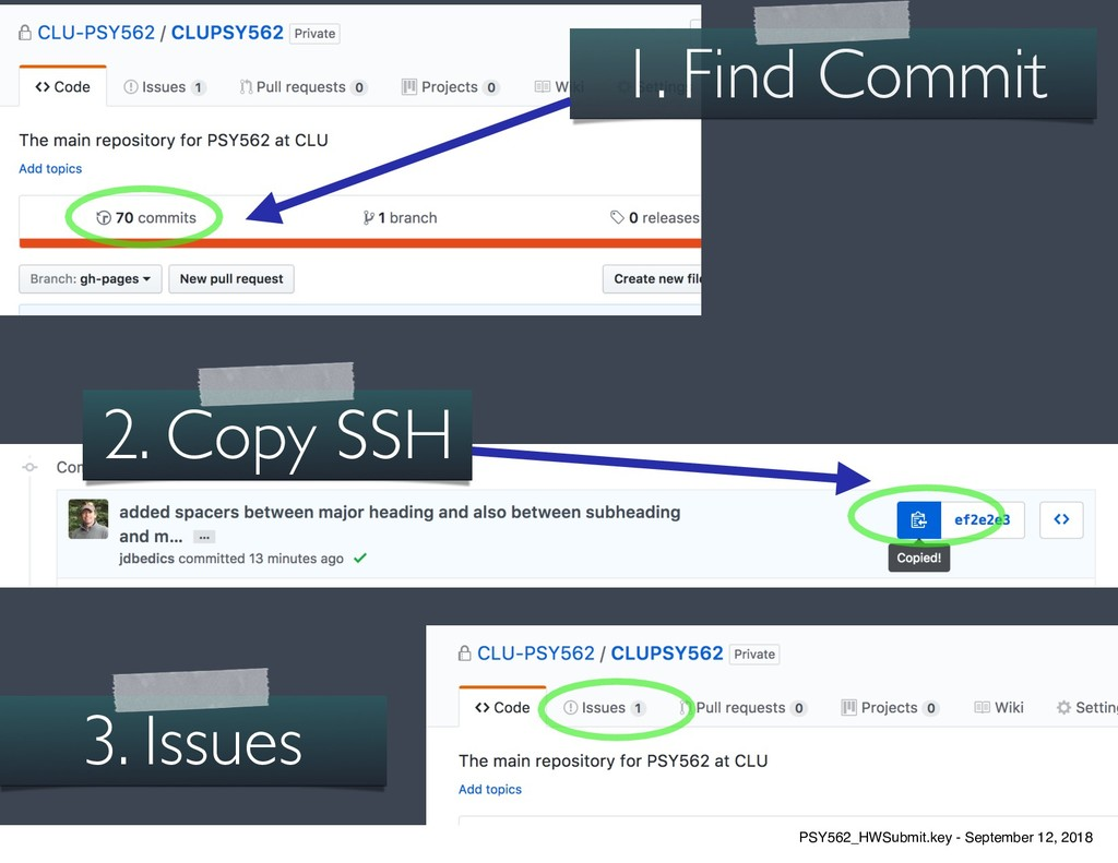 12 1. Find Commit 3. Issues 2. Copy SSH PSY562_...