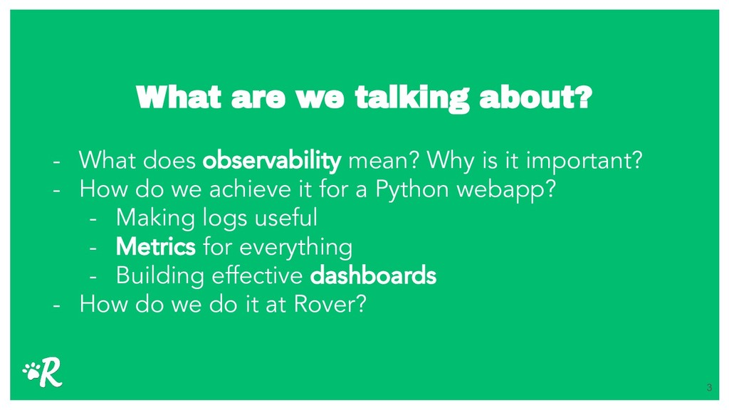 What are we talking about? - What does observab...