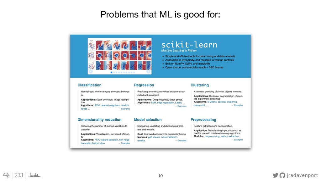 jradavenport !10 Problems that ML is good for: