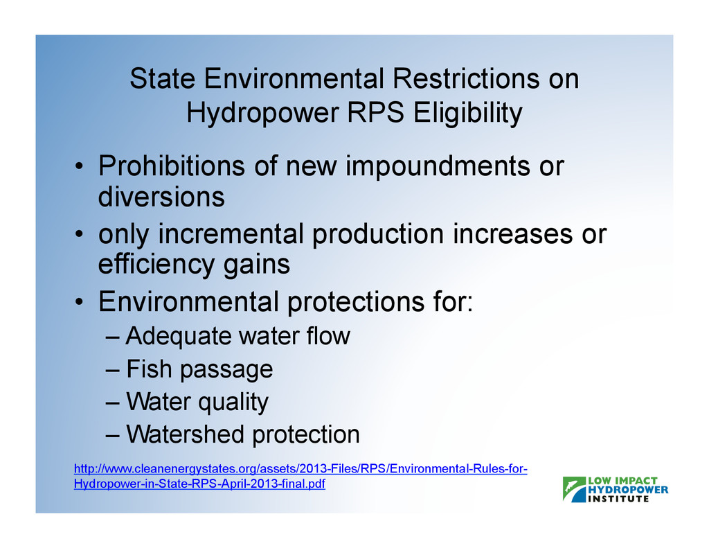 State Environmental Restrictions on Hydropower ...