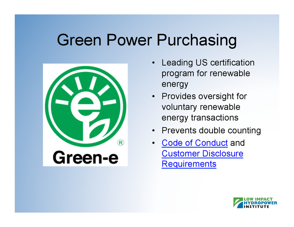 Green Power Purchasing •  Leading US certificat...